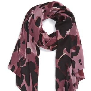Burberry Lightweight Check Animal Print Silk Scarf